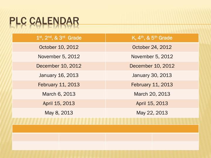 PLC Calendar
