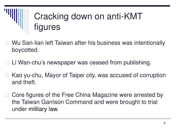 Cracking down on anti-KMT figures