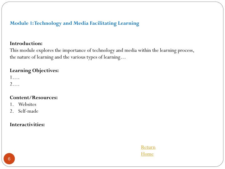 Module 1: Technology and Media Facilitating Learning
