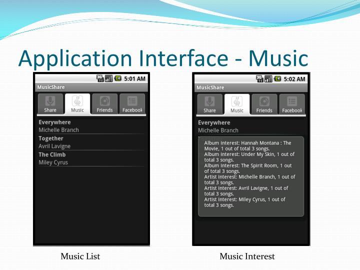 Application Interface - Music