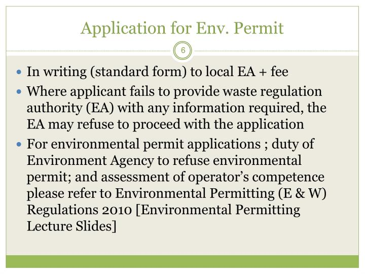 Application for Env. Permit