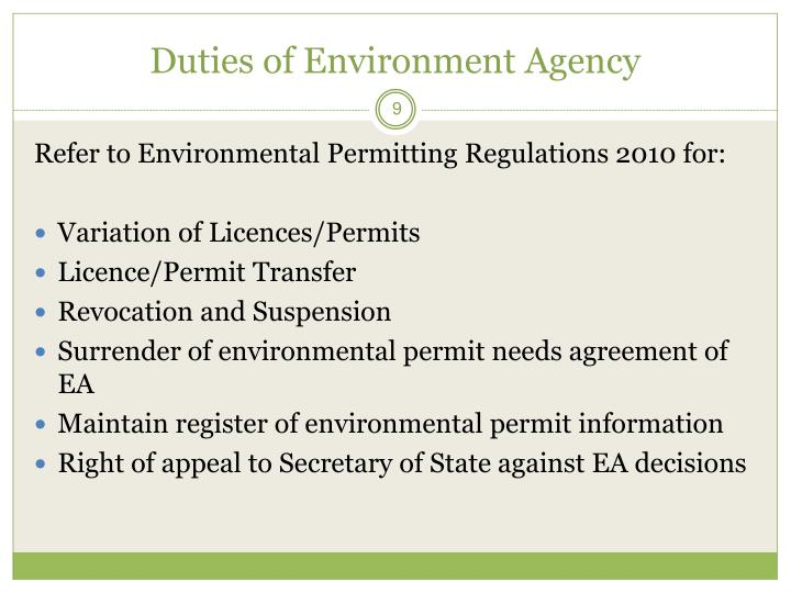 Duties of Environment Agency