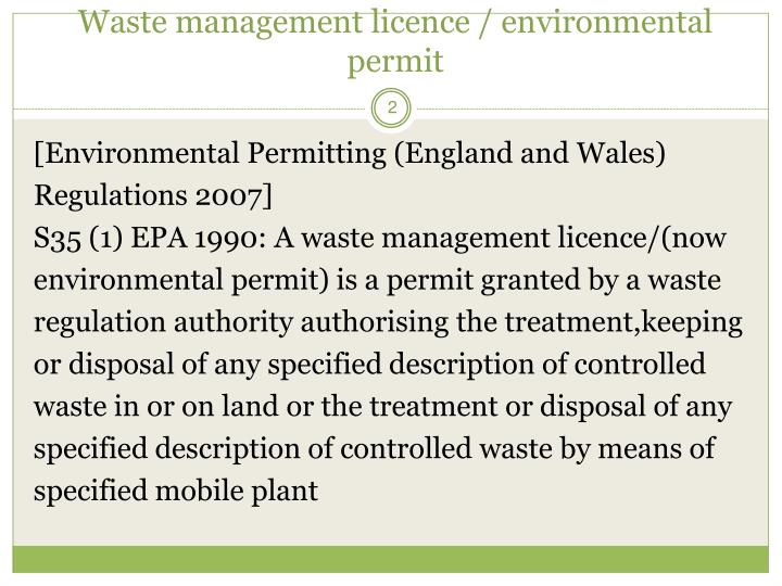 Waste management licence environmental permit