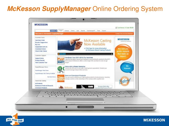 Mckesson supplymanager online ordering system