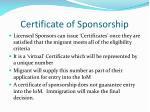 certificate of sponsorship