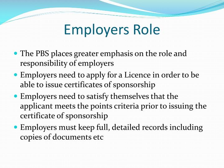 Employers Role