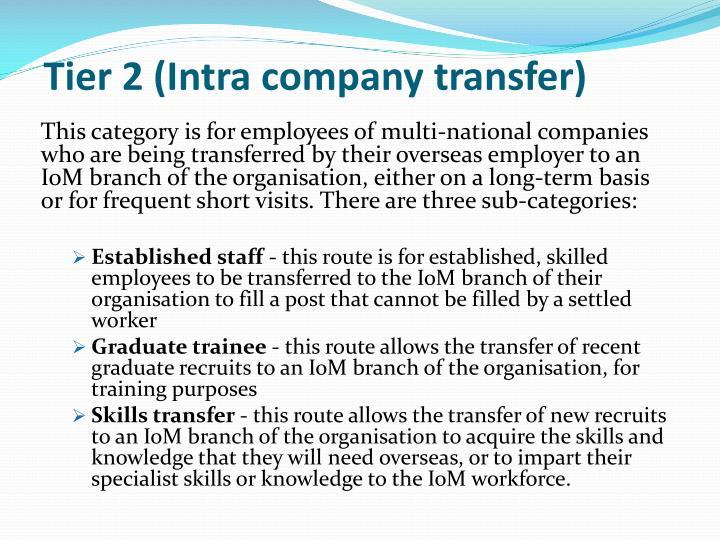 Tier 2 (Intra company transfer)
