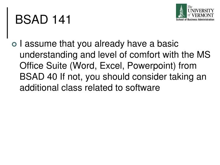 BSAD 141