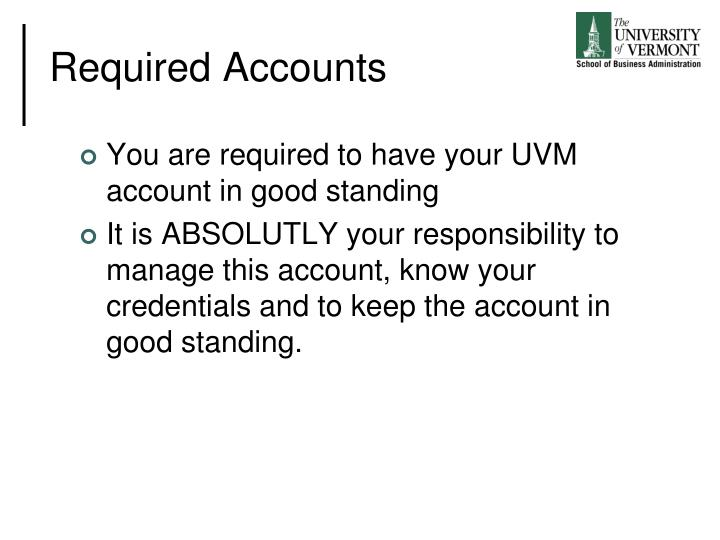 Required Accounts