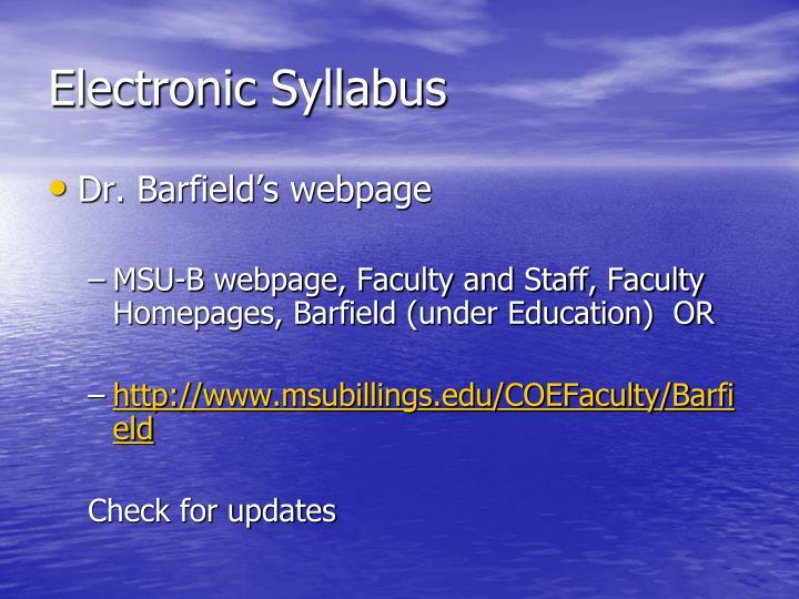 Electronic Syllabus