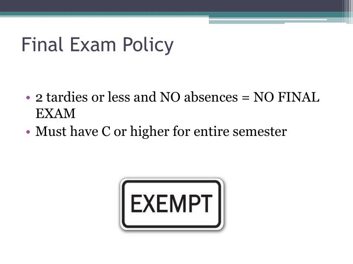 Final Exam Policy