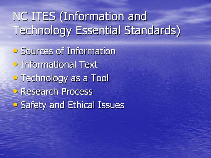 Nc ites information and technology essential standards