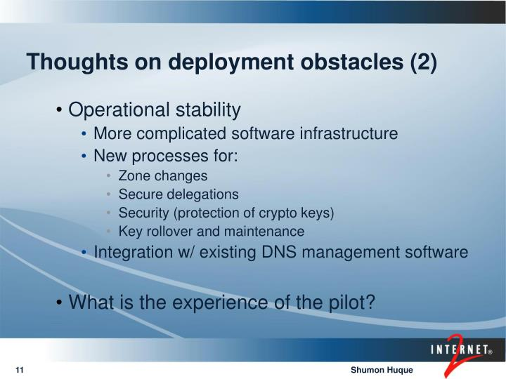 Thoughts on deployment obstacles (2)