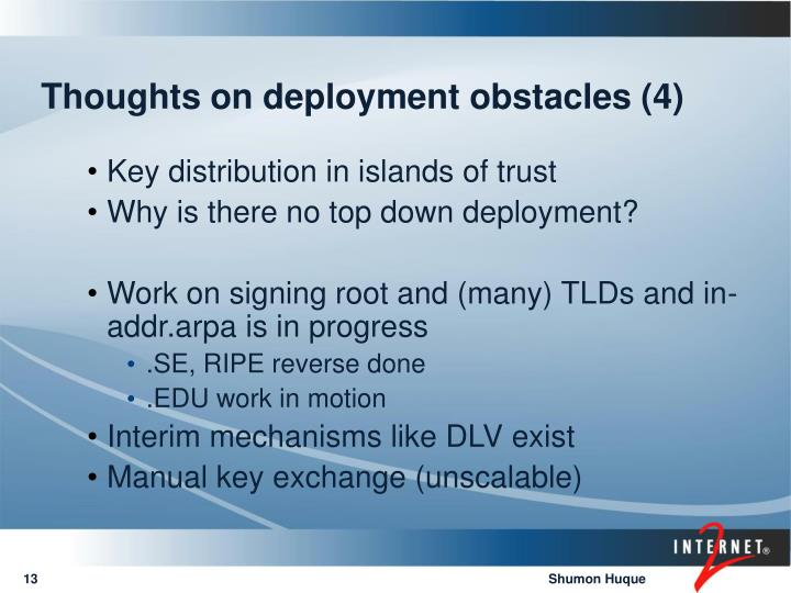 Thoughts on deployment obstacles (4)
