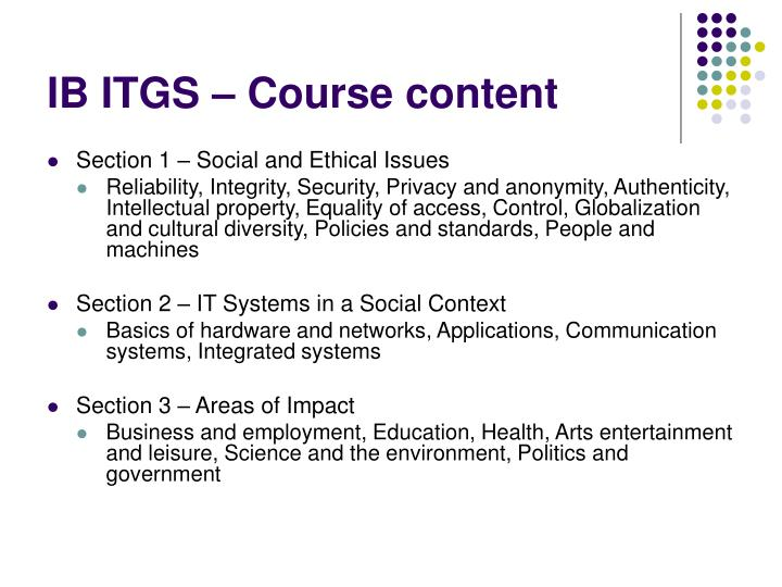 IB ITGS – Course content