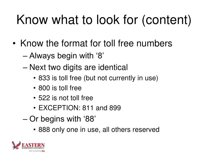 Know what to look for (content)