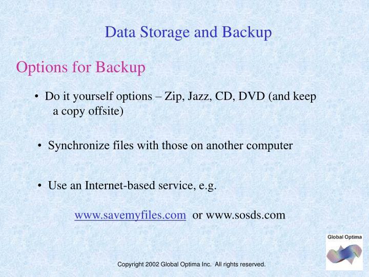 Data Storage and Backup