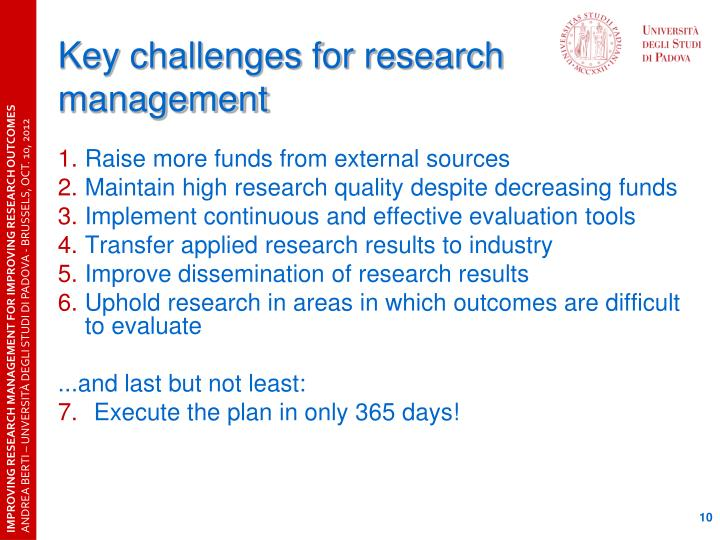 Key challenges for research management