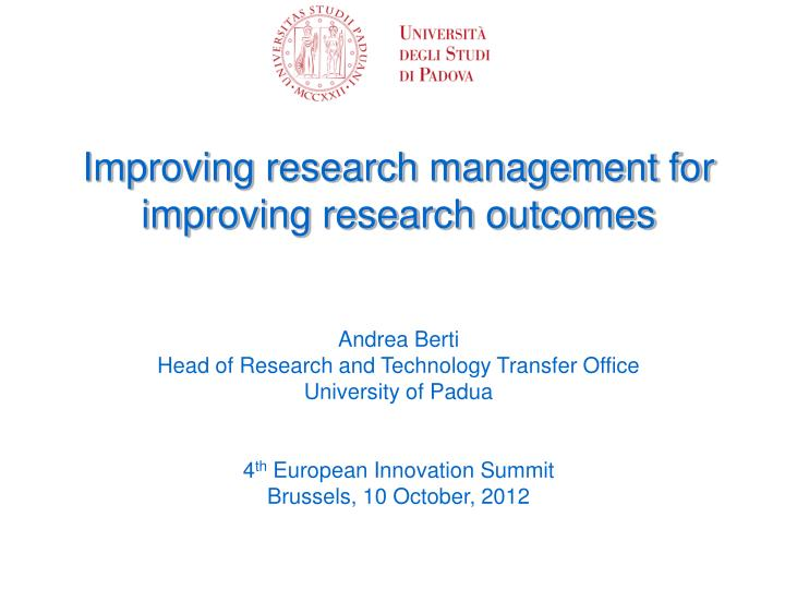 Improving research management for