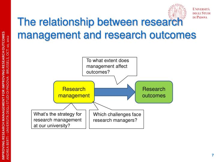 The relationship between research management and research outcomes