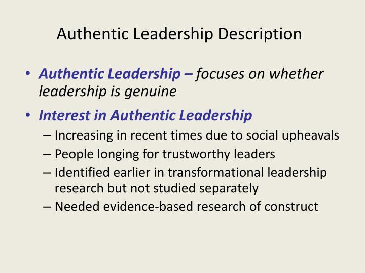 Authentic Leadership Description