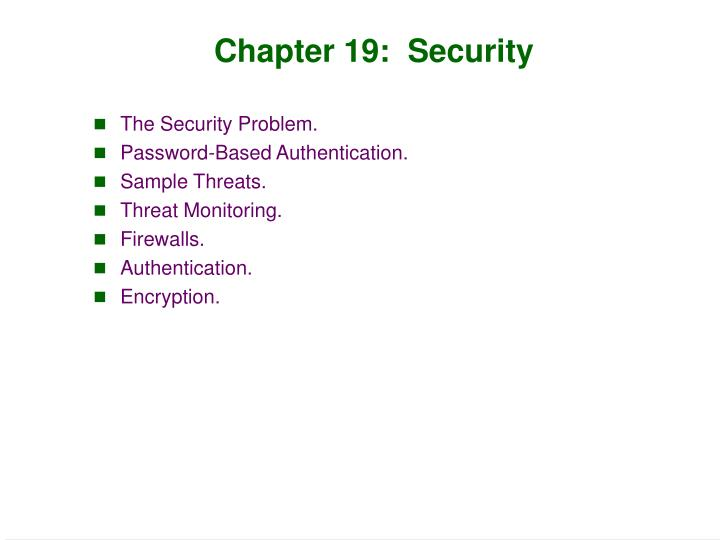Chapter 19 security