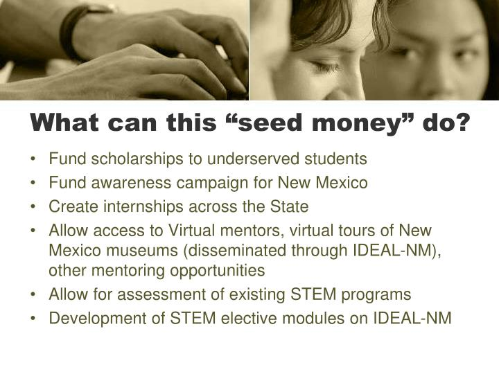 "What can this ""seed money"" do?"
