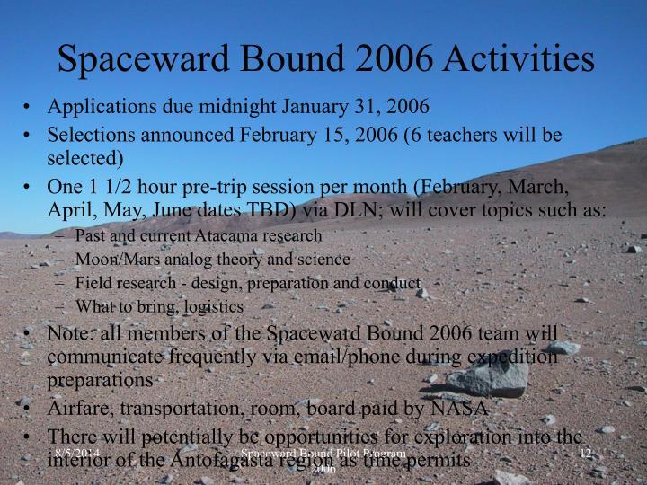 Spaceward Bound 2006 Activities