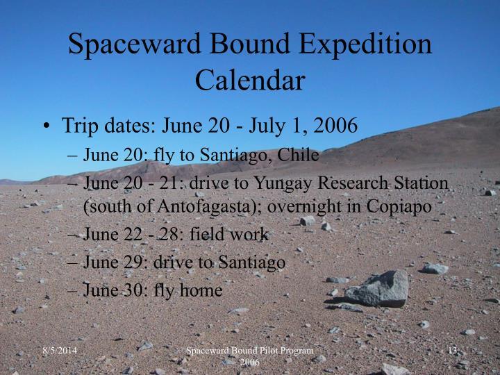 Spaceward Bound Expedition Calendar