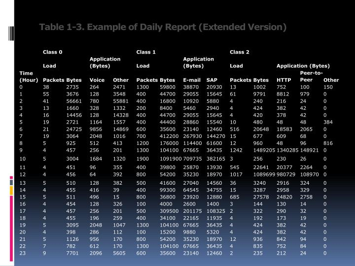 Table 1-3. Example of Daily Report (Extended Version)