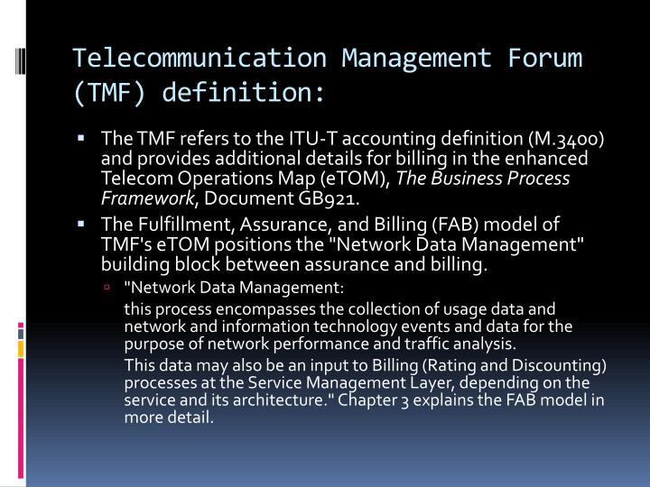 Telecommunication Management Forum (
