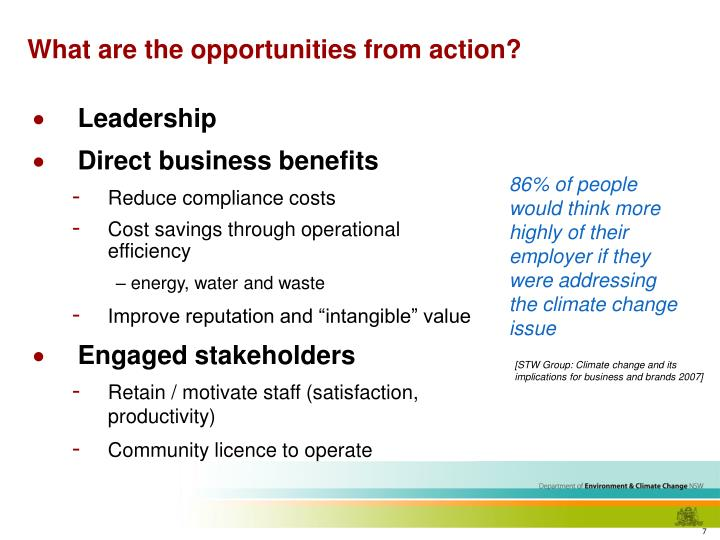 What are the opportunities from action?