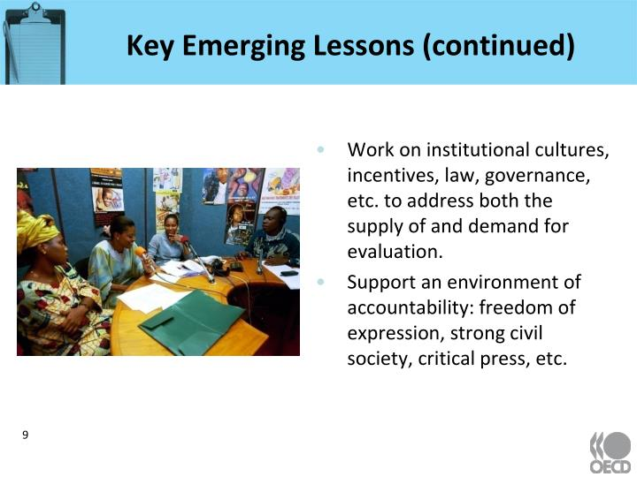 Key Emerging Lessons (continued)