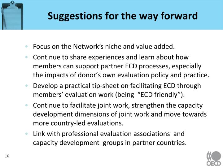 Suggestions for the way forward