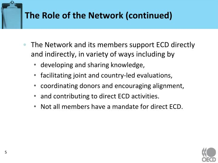 The Role of the Network (continued)