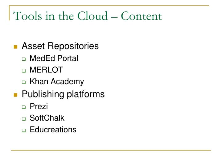 Tools in the Cloud – Content
