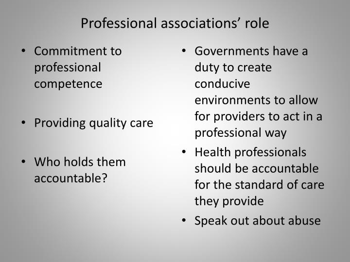 Professional associations' role
