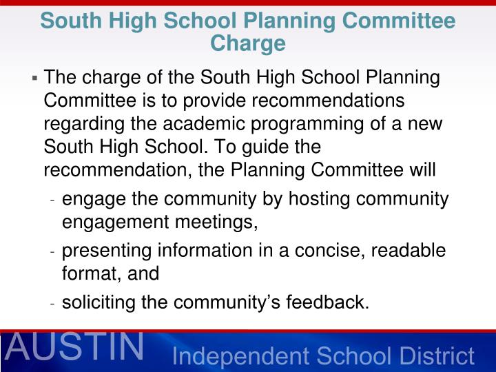 South high school planning committee charge
