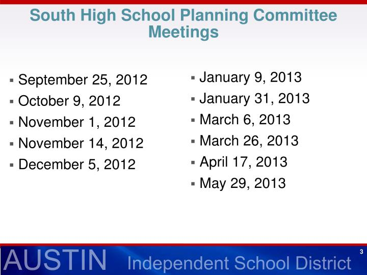 South High School Planning Committee Meetings