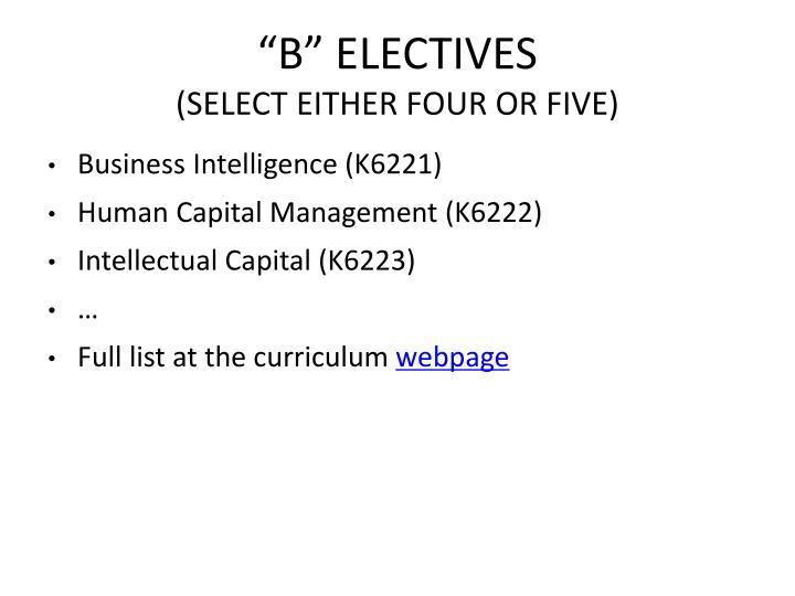 """B"" ELECTIVES"