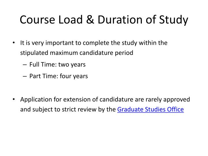 Course Load & Duration of Study