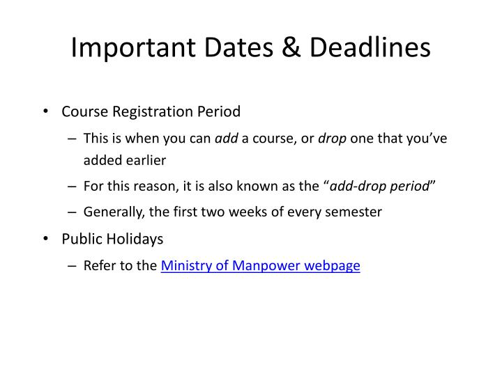 Important Dates & Deadlines