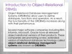 introduction to object relational dbmss