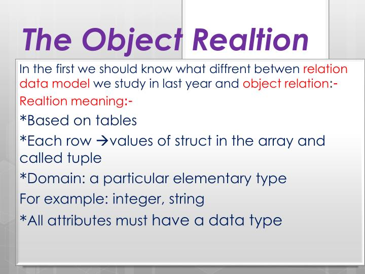 The object realtion