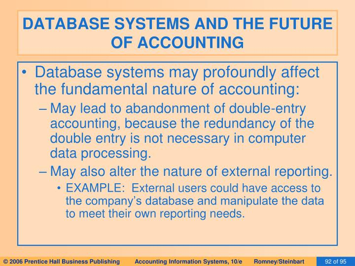 DATABASE SYSTEMS AND THE FUTURE OF ACCOUNTING
