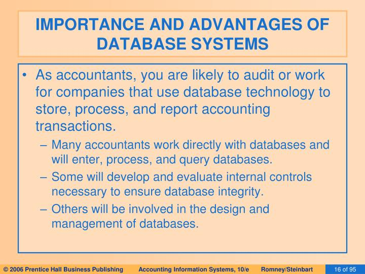 IMPORTANCE AND ADVANTAGES OF DATABASE SYSTEMS