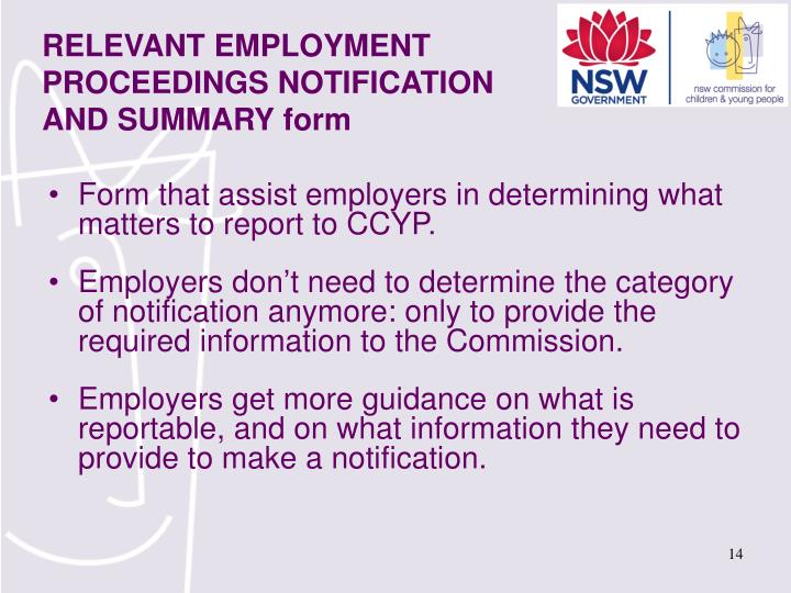 Form that assist employers in determining what matters to report to CCYP.
