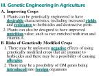 iii genetic engineering in agriculture