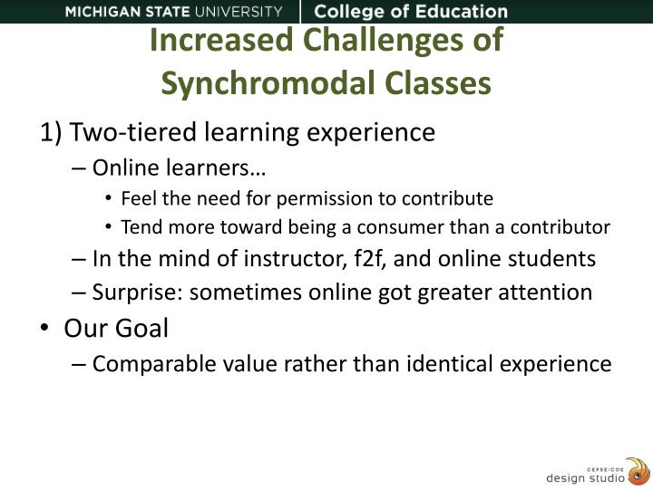Increased Challenges of Synchromodal Classes