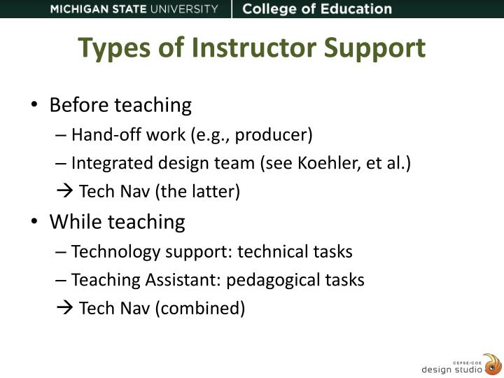 Types of Instructor Support